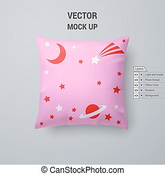 Pillow - Pink Pillow with Space Pattern Isolated on White...