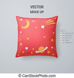 Pillow - Red Pillow with Space Pattern Isolated on White...