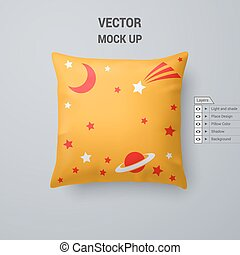 Pillow - Yellow Pillow with Space Pattern Isolated on White...