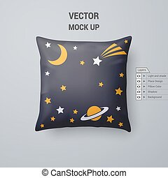 Pillow - Black Pillow with Space Pattern Isolated on White...