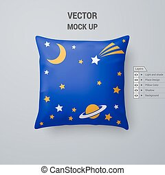 Pillow - Blue Pillow with Space Pattern Isolated on White...