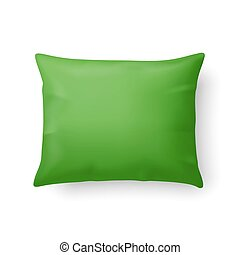 Pillow - Close Up of a Classic Green Pillow Isolated on...