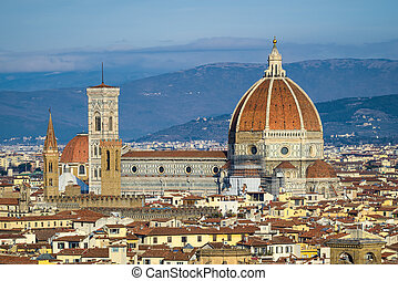 Skyline of Florence, Italy with the Santa Maria del Flore...