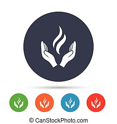 Energy hands sign icon. Power from hands symbol. Round...