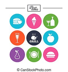 Food, drink icons. Alcohol and burger signs. - Food, drink...