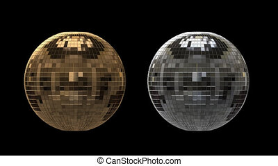 Silver and gold disco ball with alpha channel HD
