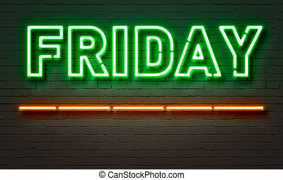 Friday neon sign on brick wall background