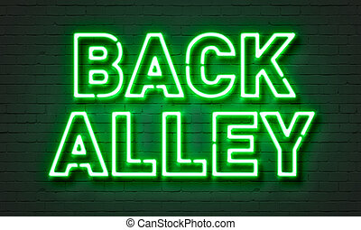 Back alley neon sign on brick wall background
