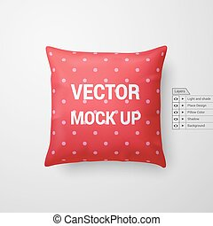 Pillow - Mock Up of a Red Pillow Isolated on White...