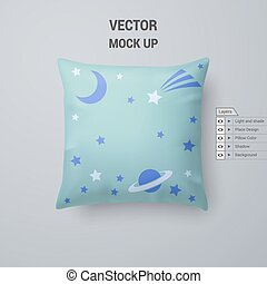 Pillow - Aquamarine Pillow with Space Pattern Isolated on...