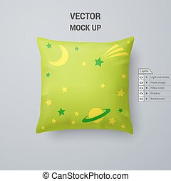 Pillow in Lime Color with Space Pattern Isolated on White...