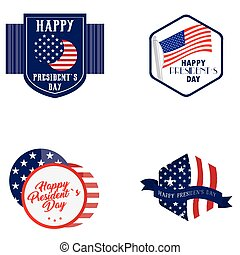 President day illustrations - Set of president day stickers...