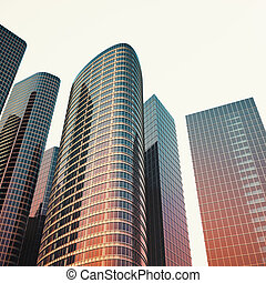Bottom view of modern skyscrapers in business district in...