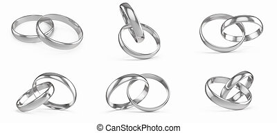 Wedding silver rings set, collection isolated on white...