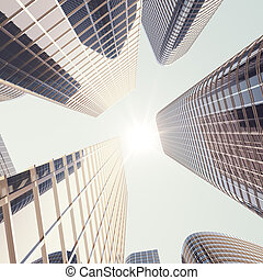 Bottom view of modern skyscrapers in business district in evening light at sunset. Industrial architecture, business construction and estate financial concept. 3d rendering