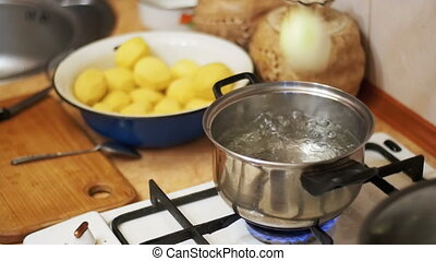 Onions Flies into a Pot of Boiling Water in the Home...