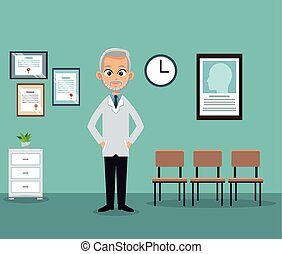 doctor office practitioner waiting room vector illustration...
