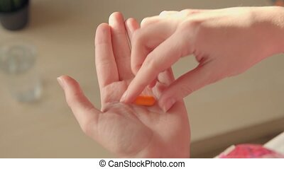 Pills, Medicine, Aspirin, Ibuprofen, Being Dropped into Hand from Bottle