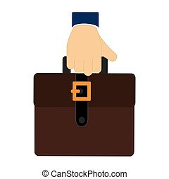 colorful hand holding a executive suitcase icon