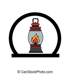 circular frame with oil lamp vector illustration
