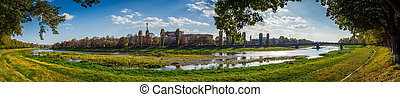 Summer city panorama of Uzhgorod. - Summer city panorama of...