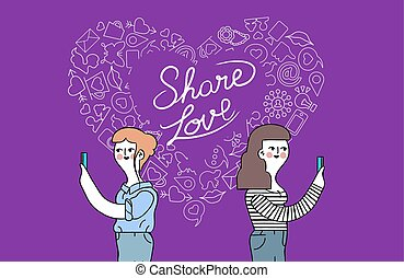 Women friendship and love internet concept design