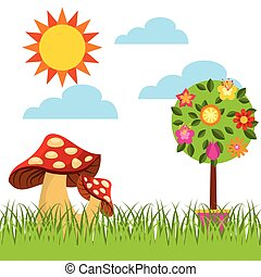 flowers and fungus icon - tree with flowers and fungus over...