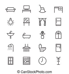 Home furniture thin icons - Simple vector icons. Clear and...