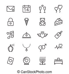 Valentine's day thin icons