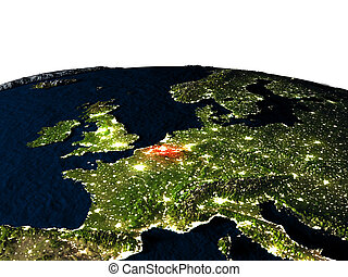 Belgium from space at night - Belgium at night as seen from...