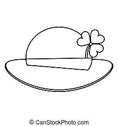st patricks day leprechaun hat clover thin line
