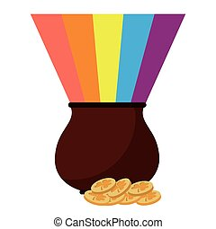 st patricks day cauldron rainbow with coins