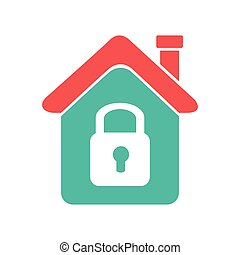 color silhouette with house with padlock