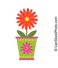 flower in a pot icon - beautiful flower in a pot over white...