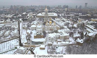 aerial view Kiev-Pechersk Lavra in winter, Kiev , Ukraine. -...
