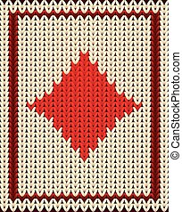 Knitted poker card diamonds , vector illustration