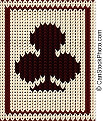 Knitted poker card clubs , vector illustration