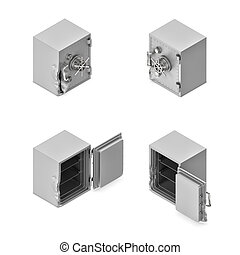 3d rendering of a broken metal safe box in open and closed...