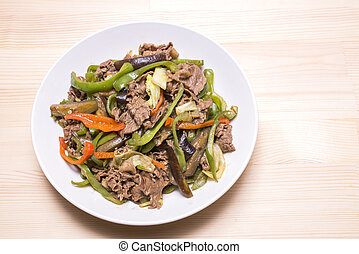 Sauteed meat and vegetables - Sauteed beef meat and various...