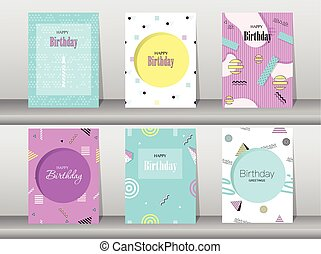 Set of birthday card on memphis pattern of retro vintage 80s...