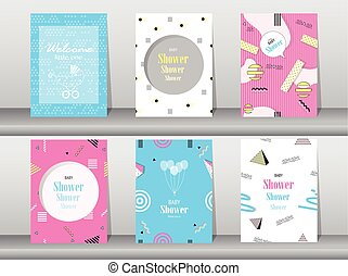 Set of baby shower card on memphis pattern of retro vintage...