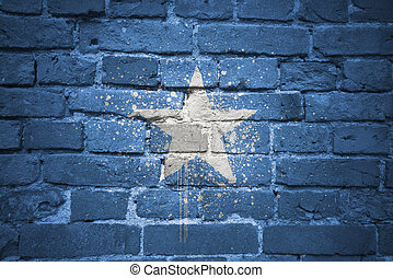 painted national flag of somalia on a brick wall - colorful...