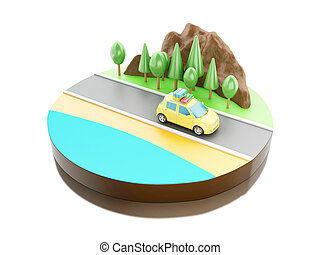 3D Travel in car on the road. - 3D illustration. Car with...
