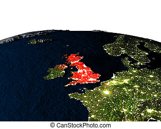 United Kingdom from space at night - United Kingdom at night...