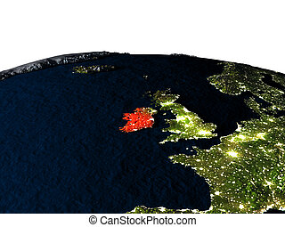 Ireland from space at night - Ireland at night as seen from...