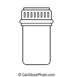 container capsule medicine icon thin line vector...