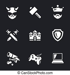 Vector Icons Set of Tank Video Games. - Barbarian, hammer,...