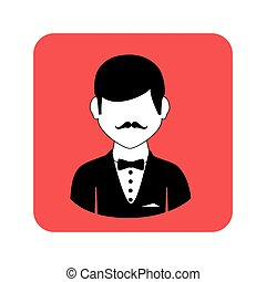 square frame with half body man with bow tie and mustache