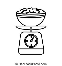 silhouette kitchen weight scale with bowl and mixture vector...