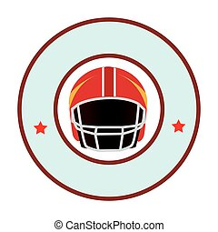 colorful circular emblem with American football helmet